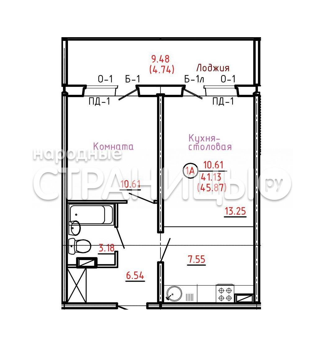 2 - комнатная квартира, 46.0 м²,  6/17 эт. Панельный дом