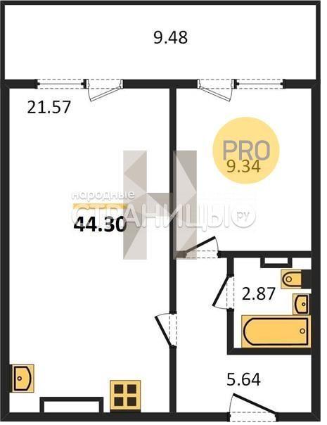 2-комнатная квартира, 44.0 м²,  14/17 эт. Панельный дом