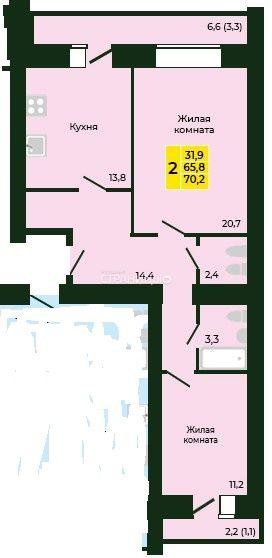 2-комнатная квартира, 70.2 м²,  9/17 эт. Кирпичный дом