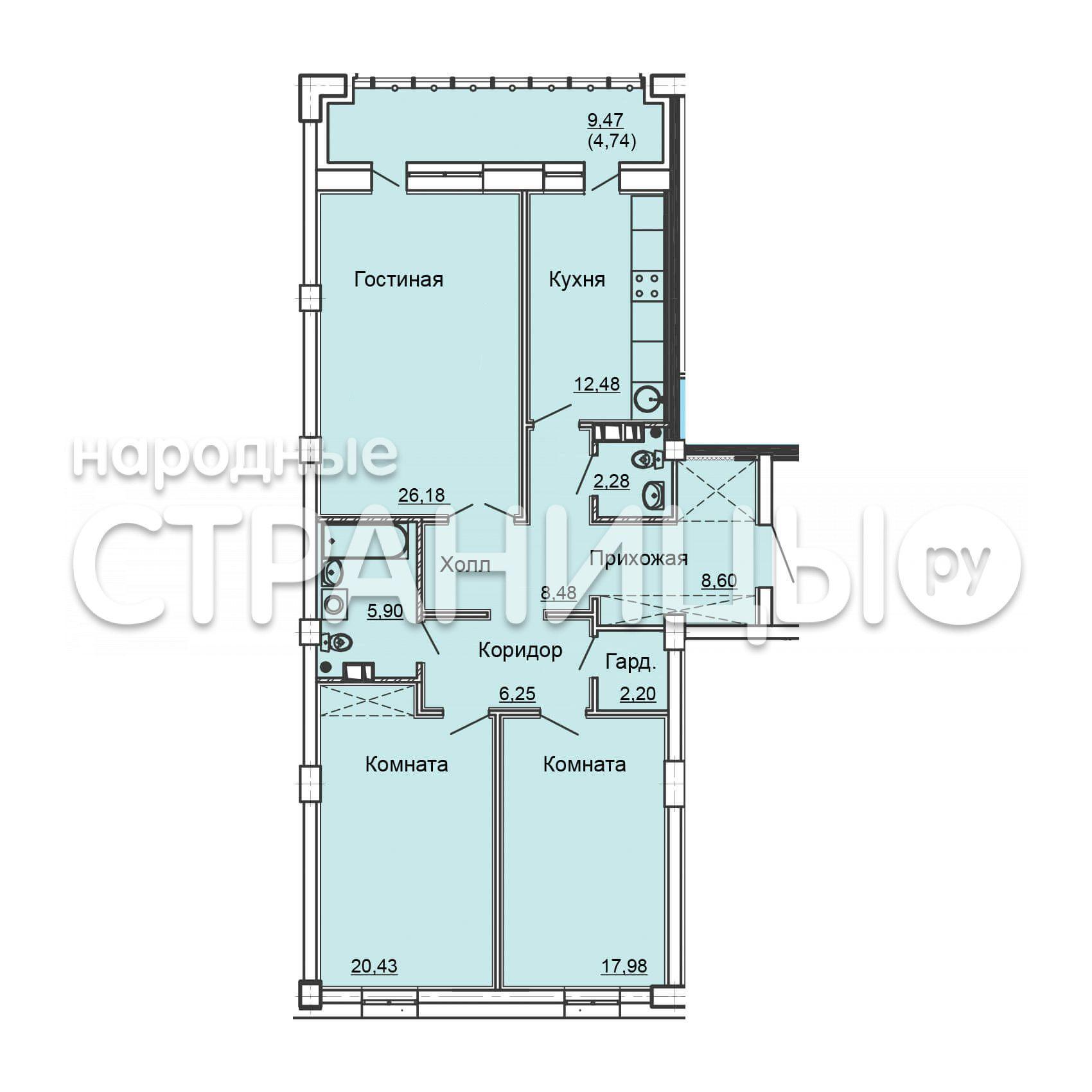 3-комнатная квартира, 121.9 м²,  9/25 эт. Кирпичный дом