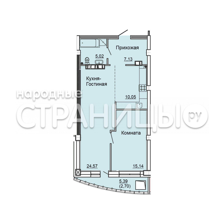 1-комнатная квартира, 65.6 м²,  7/25 эт. Кирпичный дом