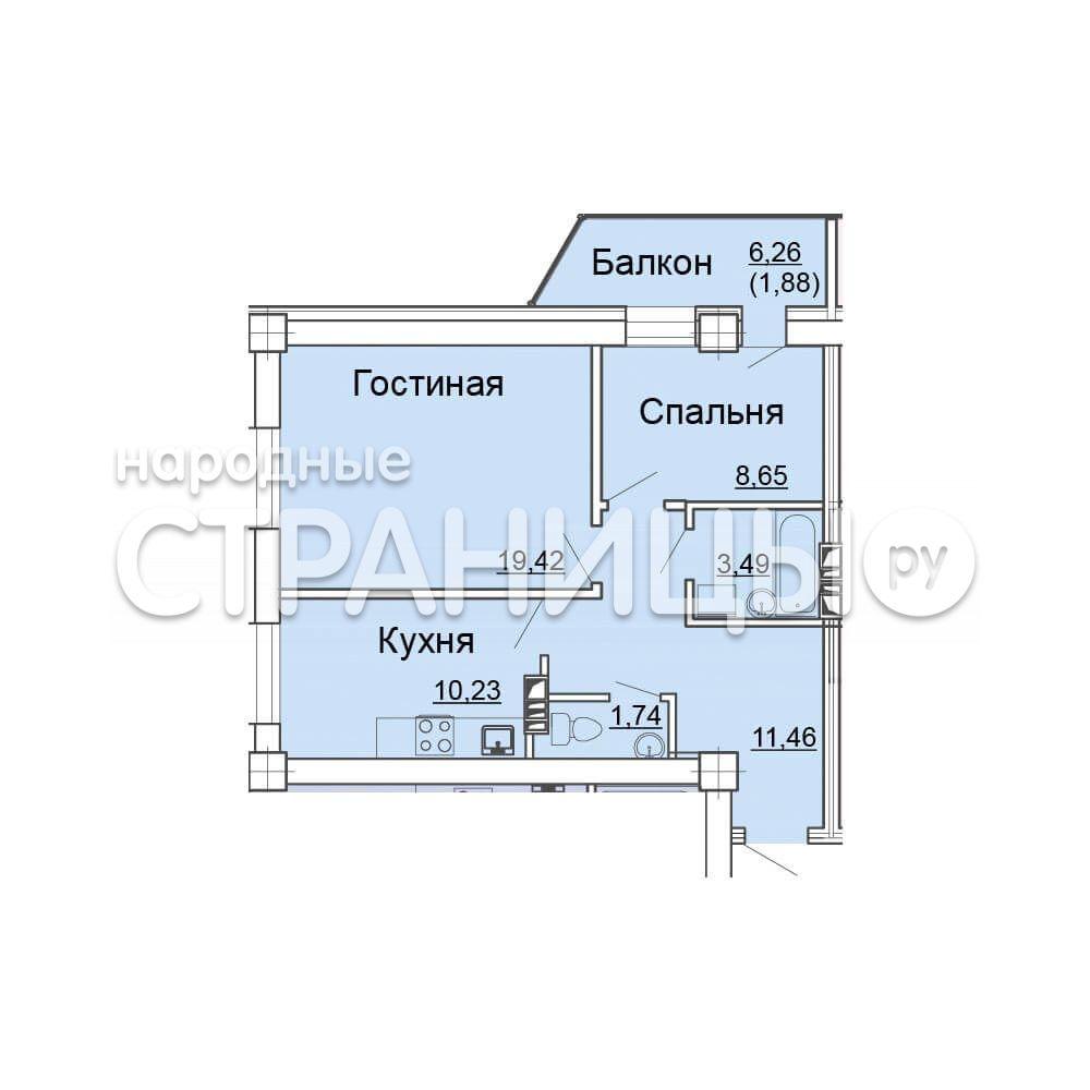 2-комнатная квартира, 62.6 м²,  9/24 эт. Кирпичный дом, Вторичное жилье