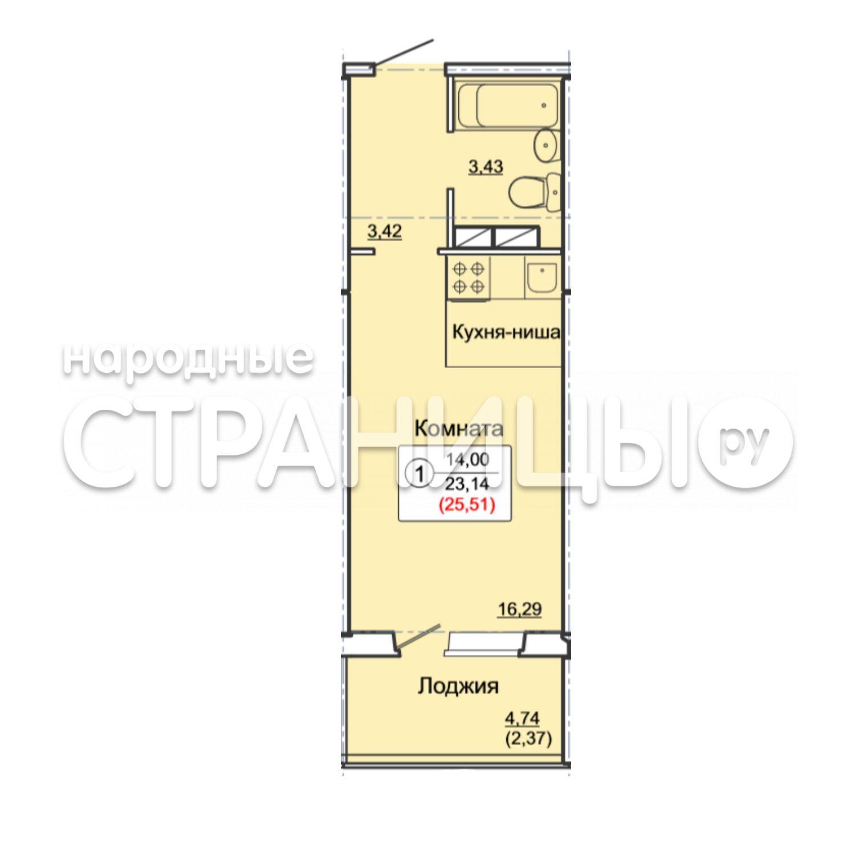 1-комнатная квартира, 25.51 м²,  1/17 эт. Панельный дом