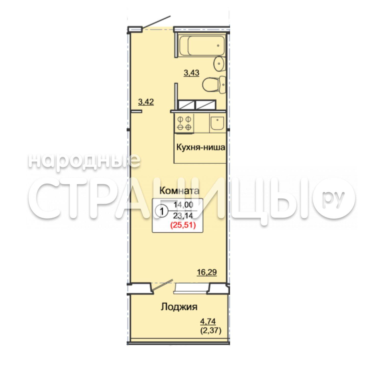 1-комнатная квартира, 25.51 м²,  13/17 эт. Панельный дом
