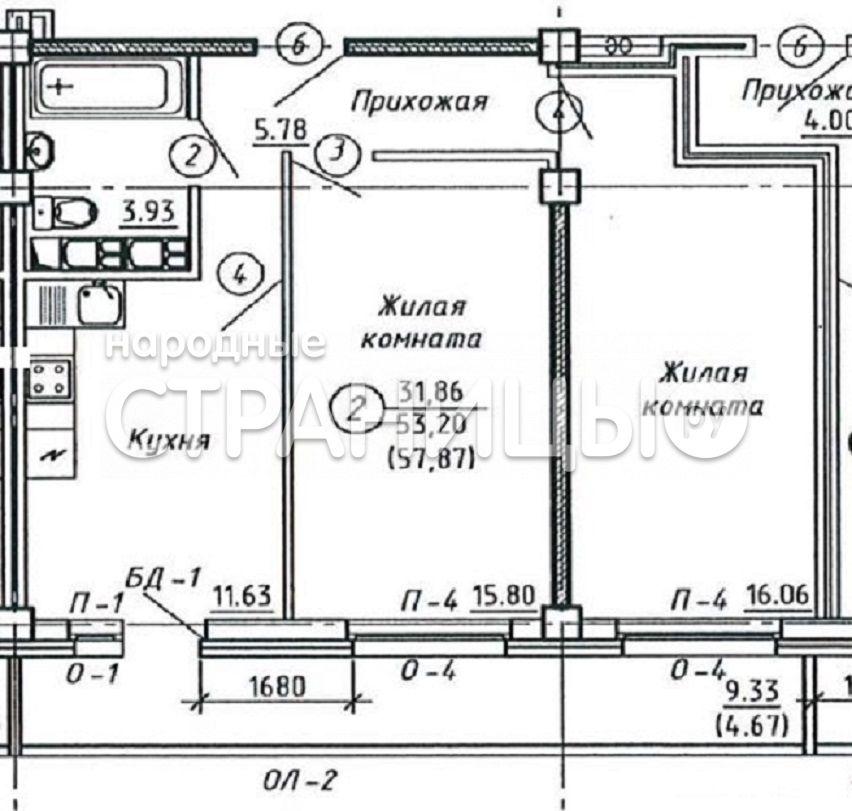 2-комнатная квартира, 57.2 м²,  10/15 эт. Кирпичный дом