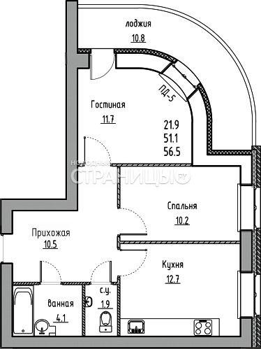 2-комнатная квартира, 56.5 м²,  4/10 эт. Кирпичный дом