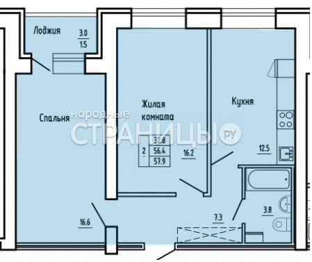 2-комнатная квартира, 57.9 м²,  2/16 эт. Кирпичный дом