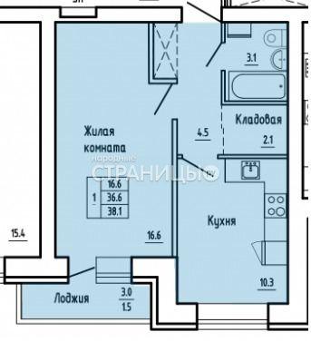 1-комнатная квартира, 38.2 м²,  3/16 эт. Кирпичный дом