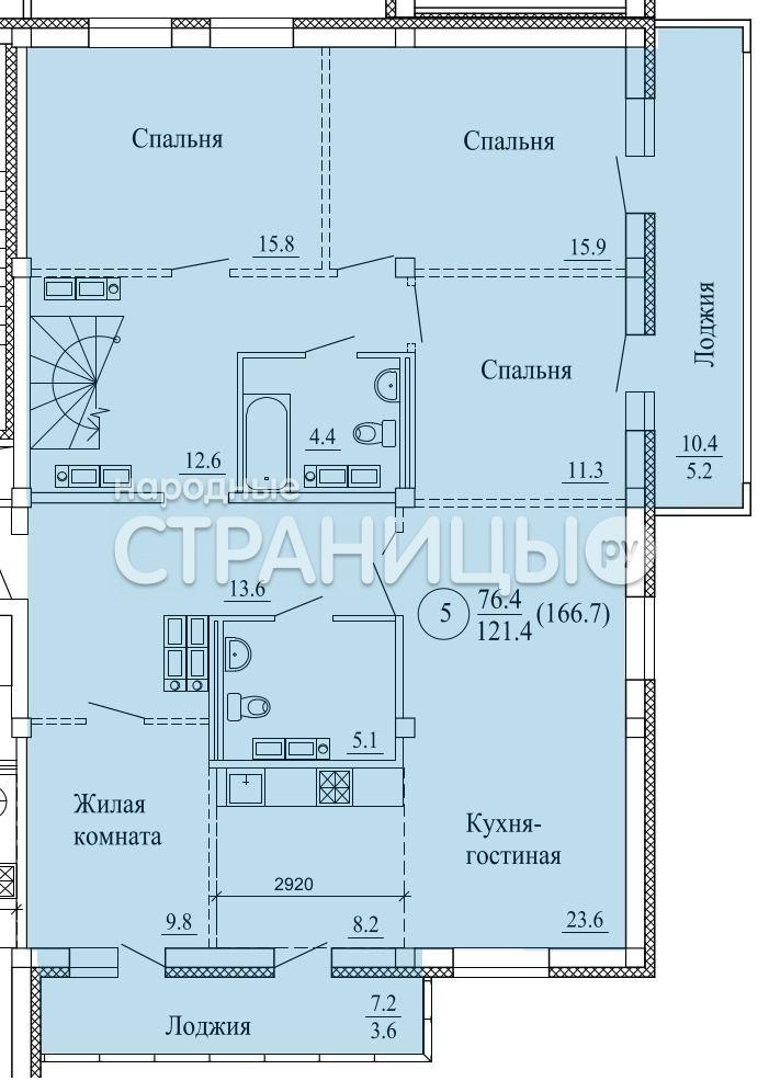 5-комнатная квартира, 179.6 м²,  17/17 эт. Деревянный дом