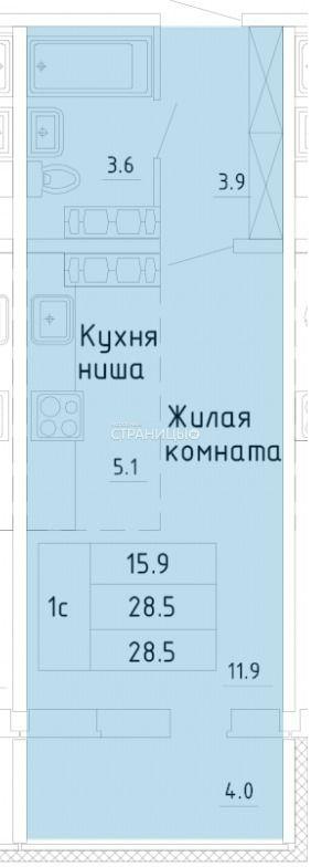 1-комнатная квартира, 28.5 м²,  15/16 эт. Панельный дом
