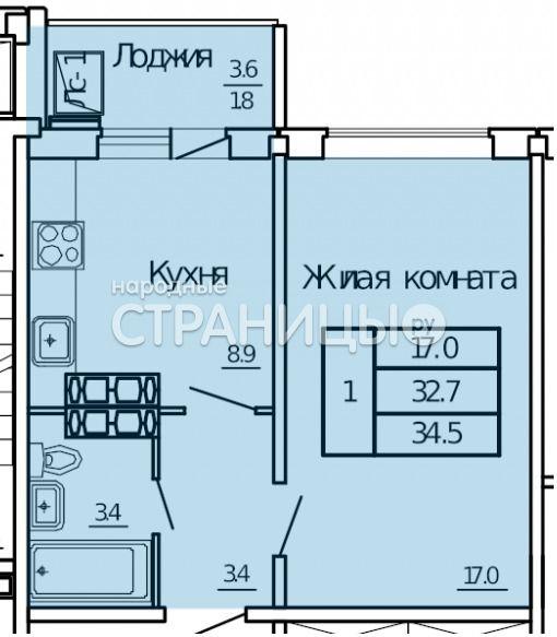 1-комнатная квартира, 34.5 м²,  9/16 эт. Панельный дом