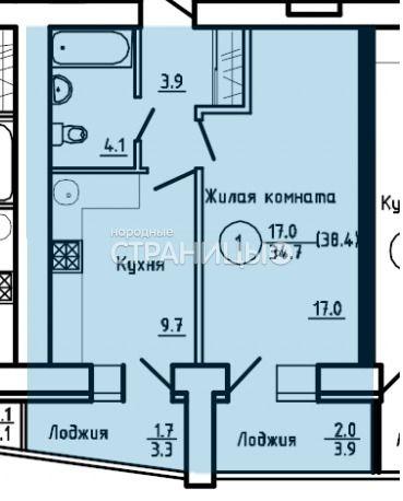 1-комнатная квартира, 38.4 м²,  7/16 эт. Кирпичный дом