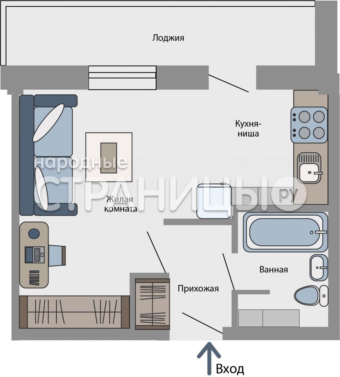 1-комнатная квартира, 28.3 м²,  3/16 эт. Деревянный дом