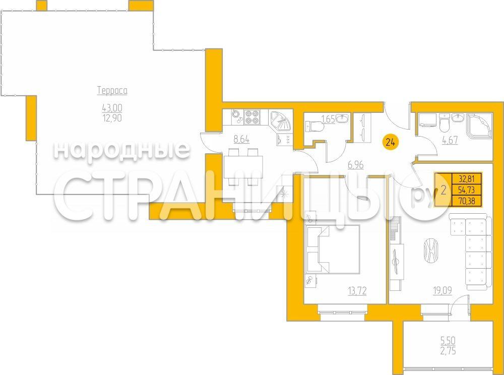 2-комнатная квартира, 70.38 м²,  4/4 эт. Кирпичный дом