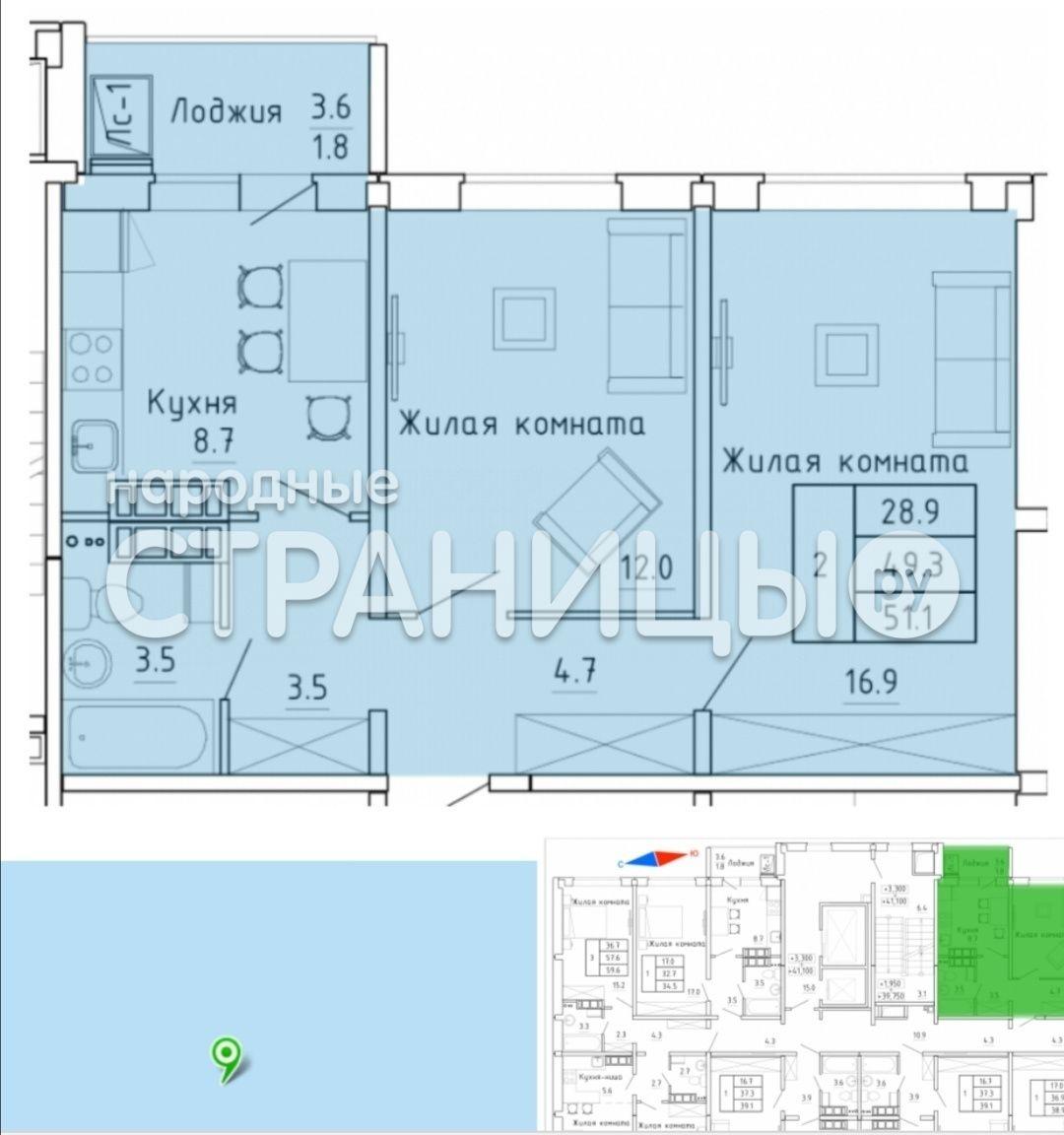 2-комнатная квартира, 51.1 м²,  16/16 эт. Панельный дом