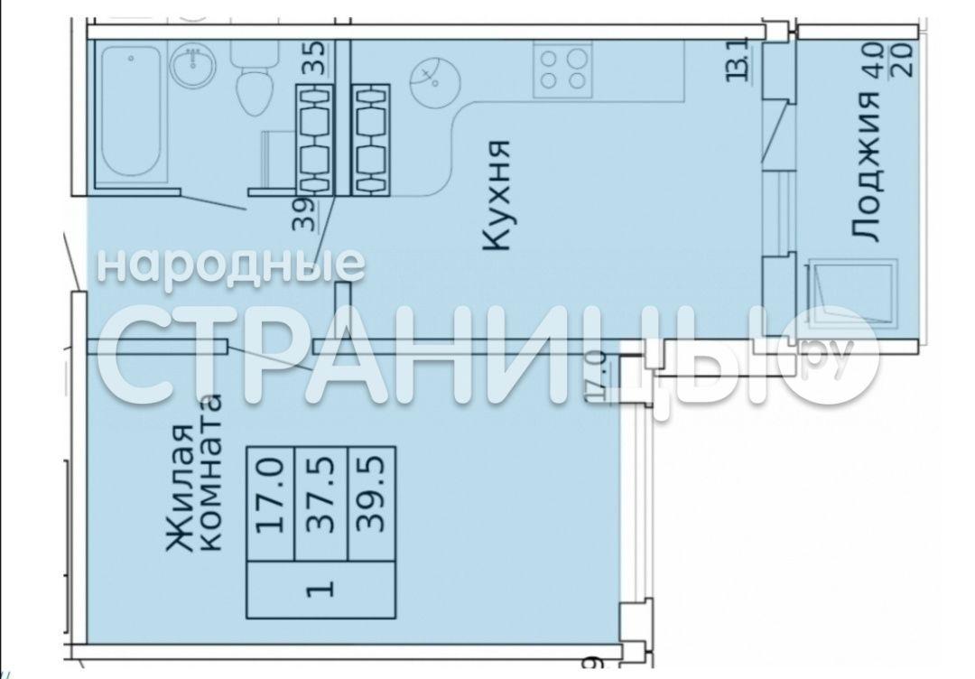 1-комнатная квартира, 39.4 м²,  14/16 эт. Панельный дом