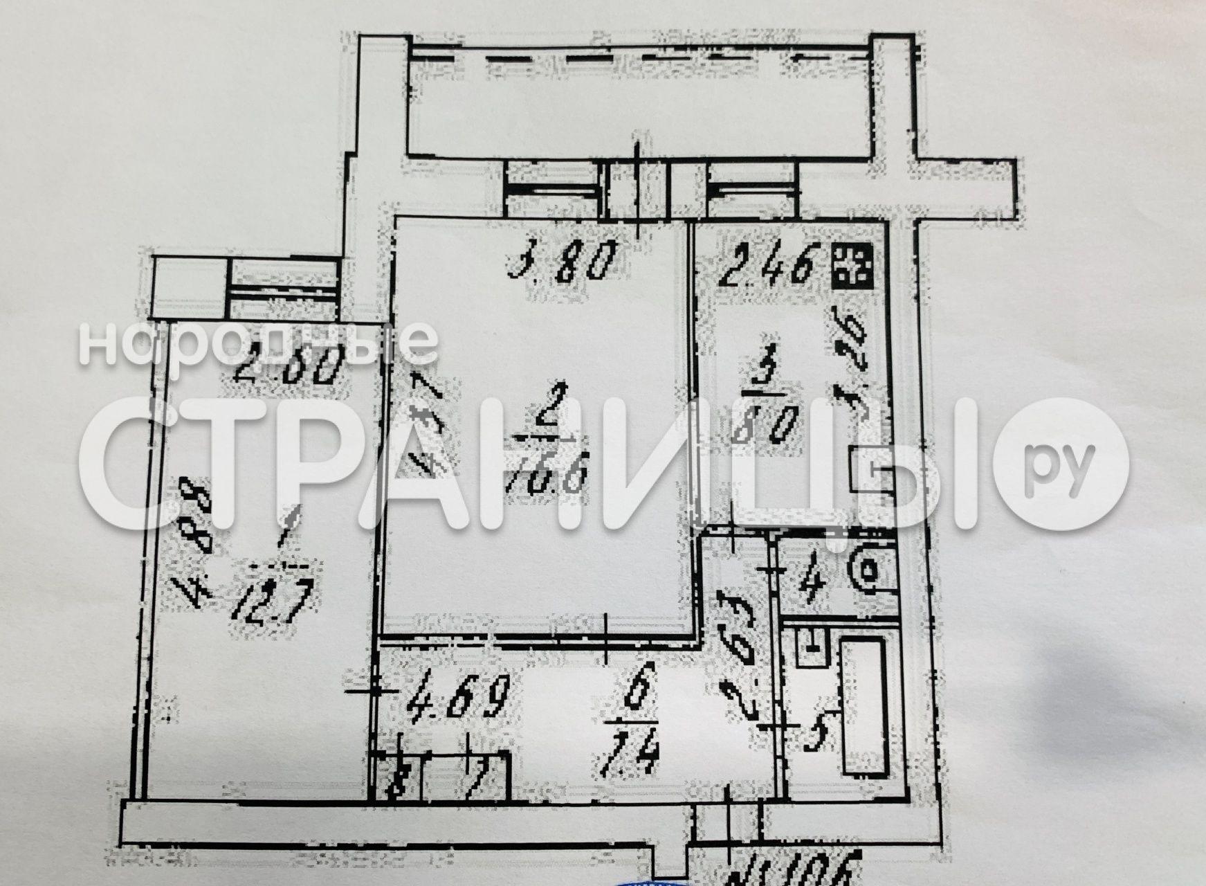 2-комнатная квартира, 52.2 м²,  9/10 эт. Кирпичный дом