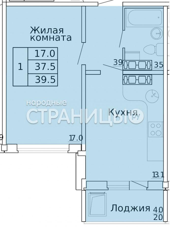 1-комнатная квартира, 39.4 м²,  12/16 эт. Панельный дом
