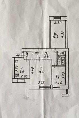 3-комнатная квартира, 60.0 м²,  2/9 эт. Кирпичный дом