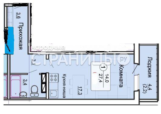 1-комнатная квартира, 27.4 м²,  14/15 эт. Кирпичный дом, Новостройка