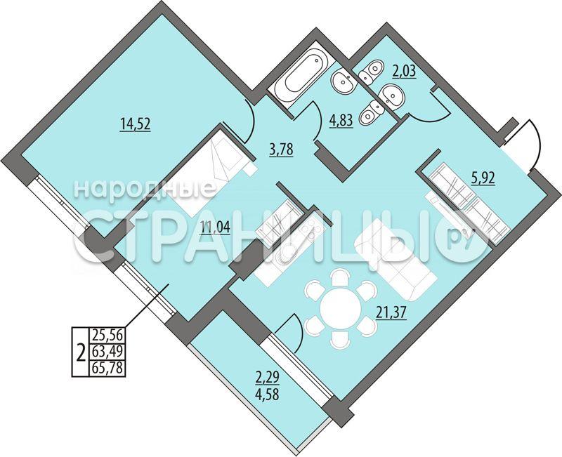 2-комнатная квартира, 65.78 м²,  5/14 эт. Монолитный дом