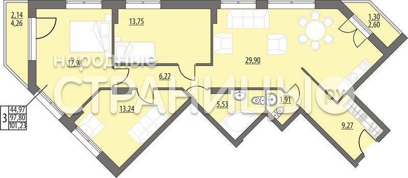 3-комнатная квартира, 101.23 м²,  5/14 эт. Монолитный дом