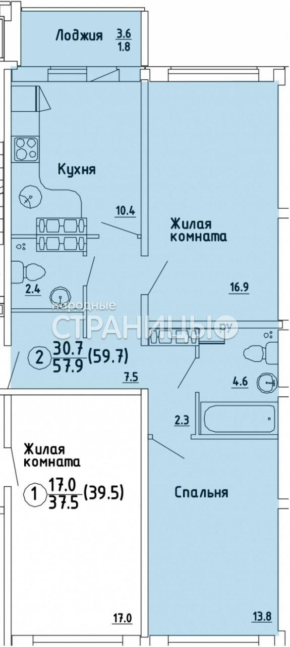 2-комнатная квартира, 59.7 м²,  2/16 эт. Панельный дом, Вторичное жилье