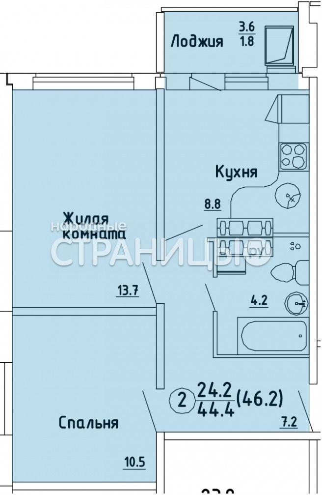 2-комнатная квартира, 44.6 м²,  13/16 эт. Панельный дом, Вторичное жилье