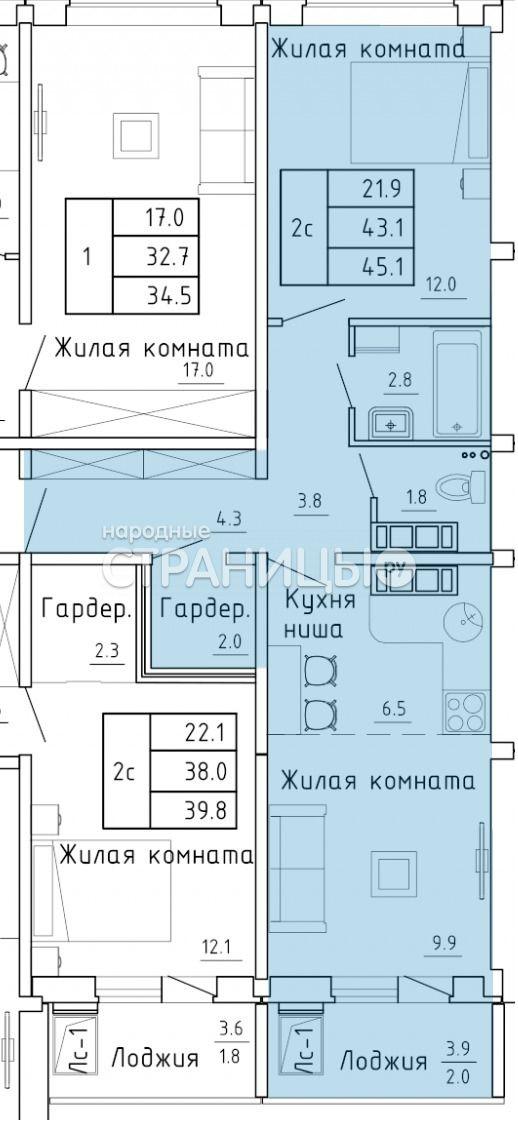 2-комнатная квартира, 41.1 м²,  12/16 эт. Панельный дом, Вторичное жилье
