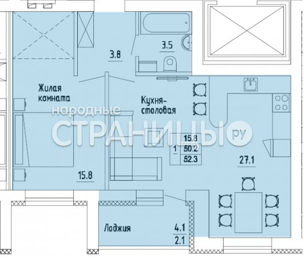 2-комнатная квартира, 52.3 м²,  9/17 эт. Панельный дом, Вторичное жилье