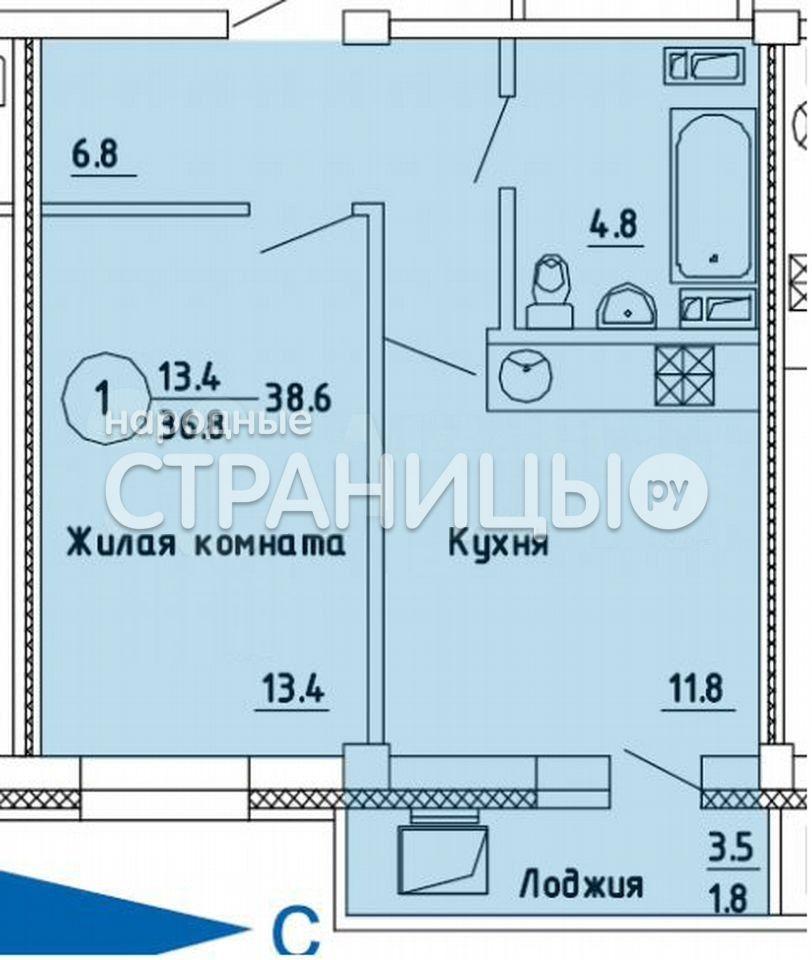 1-комнатная квартира, 38.6 м²,  6/14 эт. Монолитный дом, Новостройка