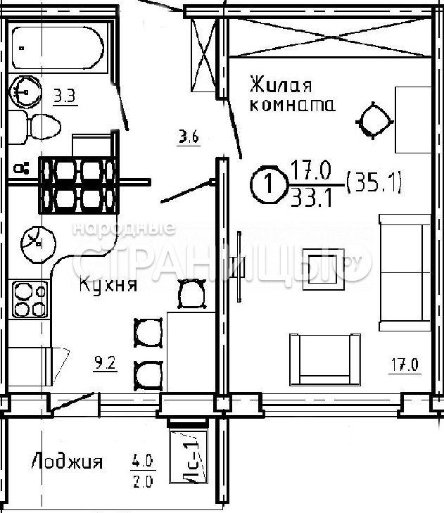 1-комнатная квартира, 35.2 м²,  3/16 эт.  дом, Новостройка