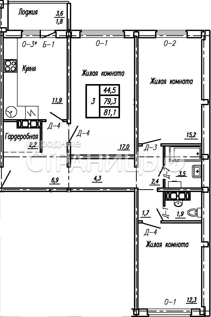 3-комнатная квартира, 81.1 м²,  4/16 эт.  дом