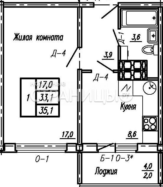1-комнатная квартира, 35.1 м²,  6/16 эт.  дом, Новостройка