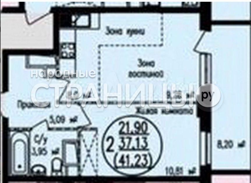 2-комнатная квартира, 43.0 м²,  11/19 эт. Блочный дом, Вторичное жилье
