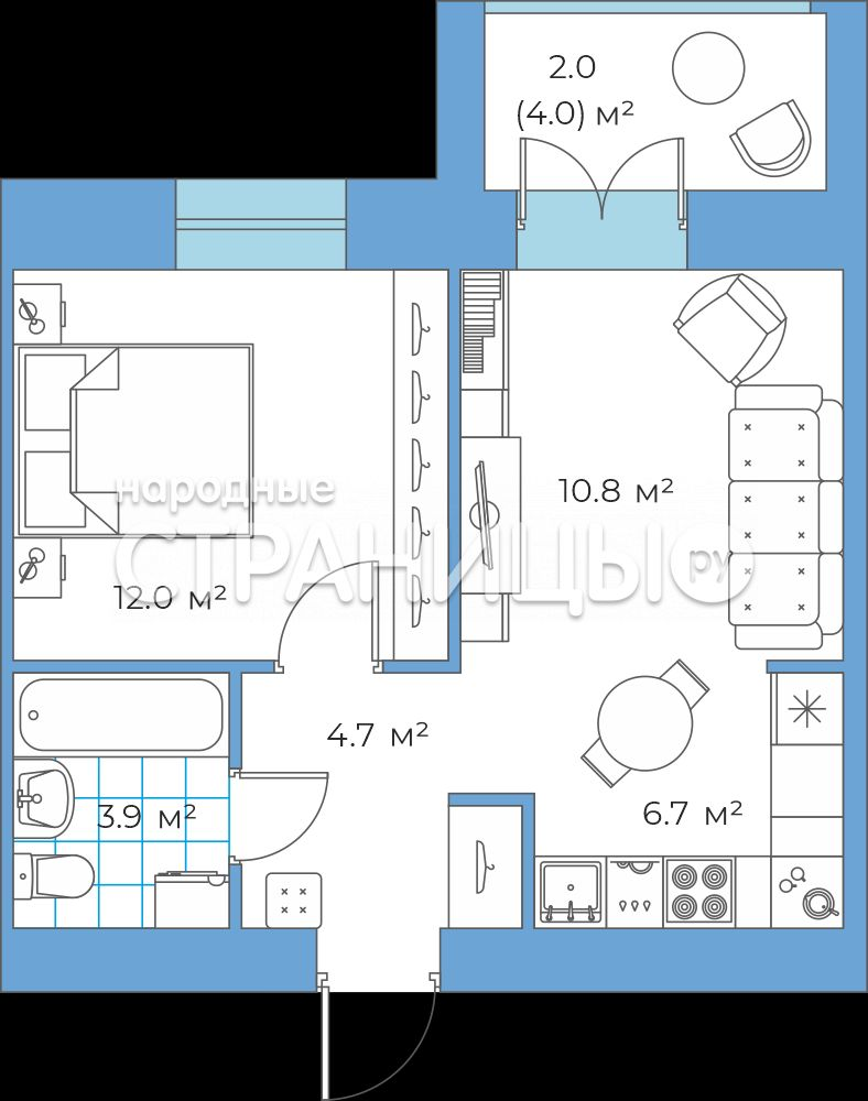 2-комнатная квартира, 39.88 м²,  4/7 эт. Кирпичный дом, Вторичное жилье