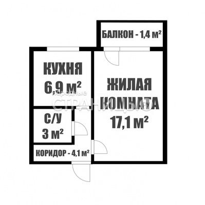 1-комнатная квартира, 31.1 м²,  5/6 эт. Кирпичный дом, Вторичное жилье
