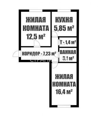 2-комнатная квартира, 46.6 м²,  1/3 эт. Кирпичный дом, Вторичное жилье